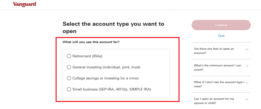 Type of investing account